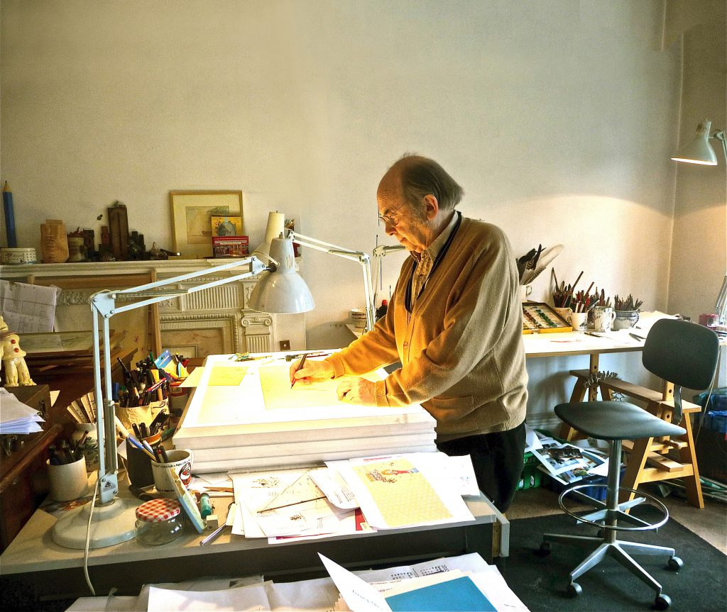 Quentin Blake in his studio