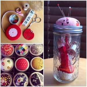 Jars with a sewing cushion for a lid.