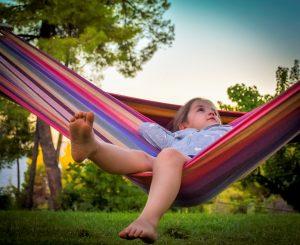 Young girl in hammock