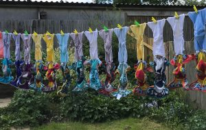 Reusable nappies on a washing line.