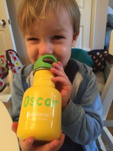 Oscar with his reusable water bottle.