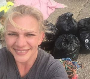 Claire Sumners at a beach clean