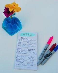 shopping list.