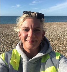 Claire Sumners at a beach clean.