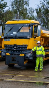 Mick Bishop stands by a gritter.