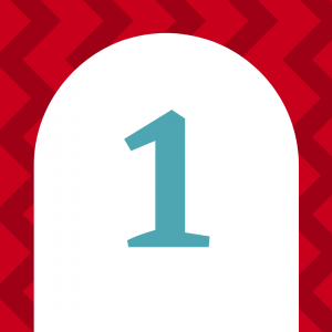 Red background with a white door and a blue number one