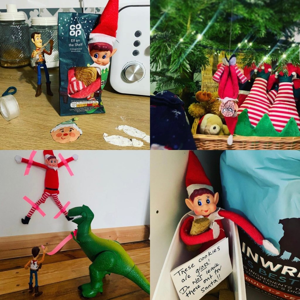 Elf on the shelf getting up to mischief surrounded by Christmas decorations